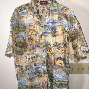 Route 66 themed Hawaiian shirt